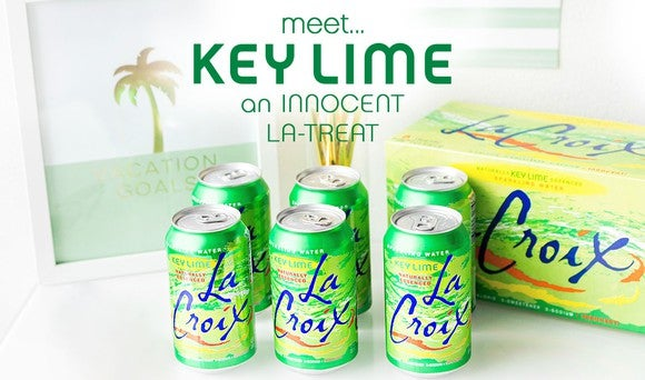 La Croix key lime cases and cans.