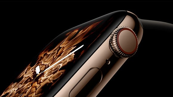 An extreme closeup of the Apple Watch Series 4 with the liquid metal face option.