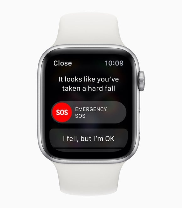 """Apple Watch with a notification """"It looks like you've taken a hard fall"""" and response options """"Emergency SOS"""" or """"I fell, but I'm OK."""""""