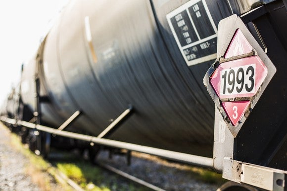 A closeup of an oil tank car focused on a hazardous material sign 1993 denoting flammable liquids.