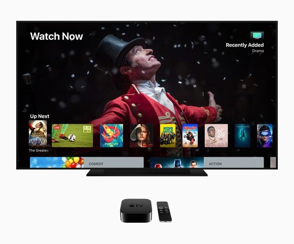 A television screen showing various viewing options from Apple TV.