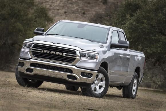 A silver 2019 Ram 1500 Big Horn, a full-size pickup truck.