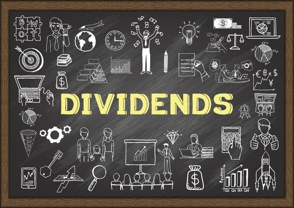 """The word """"Dividends"""" on a chalkboard surrounded by finance-related icons."""