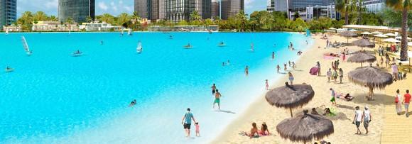 Artist rendering white sand beaches surrounding lagoon