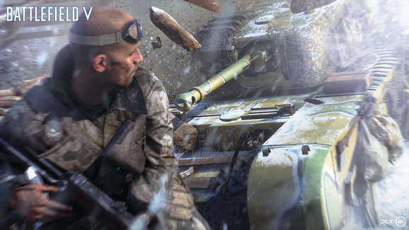 Screenshot of EA's Battlefield video game depicting a solider looking over his shoulder at a chasing tank.