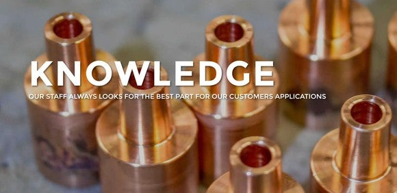 Several copper fittings sitting on a table, with promotional language superimposed.