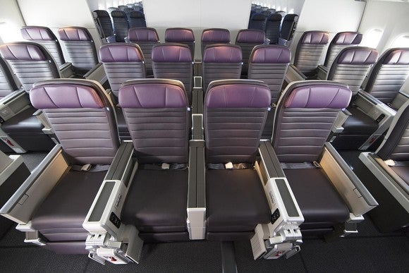 A Premium Plus cabin on a United Airlines plane