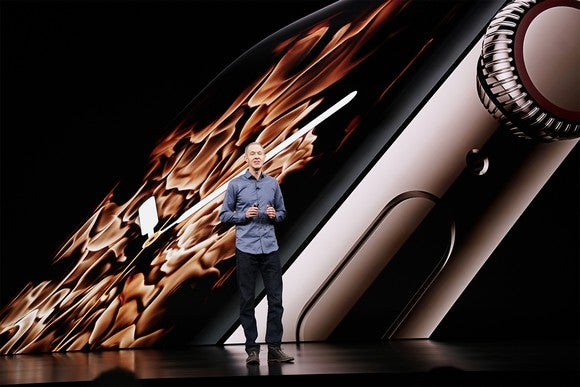 Apple chief operating officer Jeff Williams announces the Apple Watch Series 4