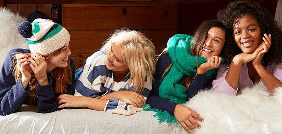 Four girls wearing winter apparel from Aerie