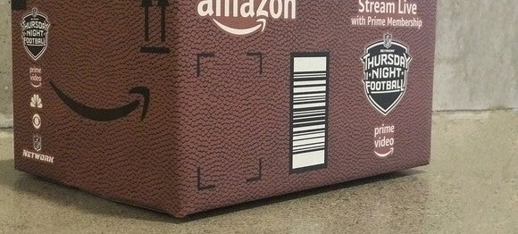An Amazon box designed like a football promoting Thursday Night Football.