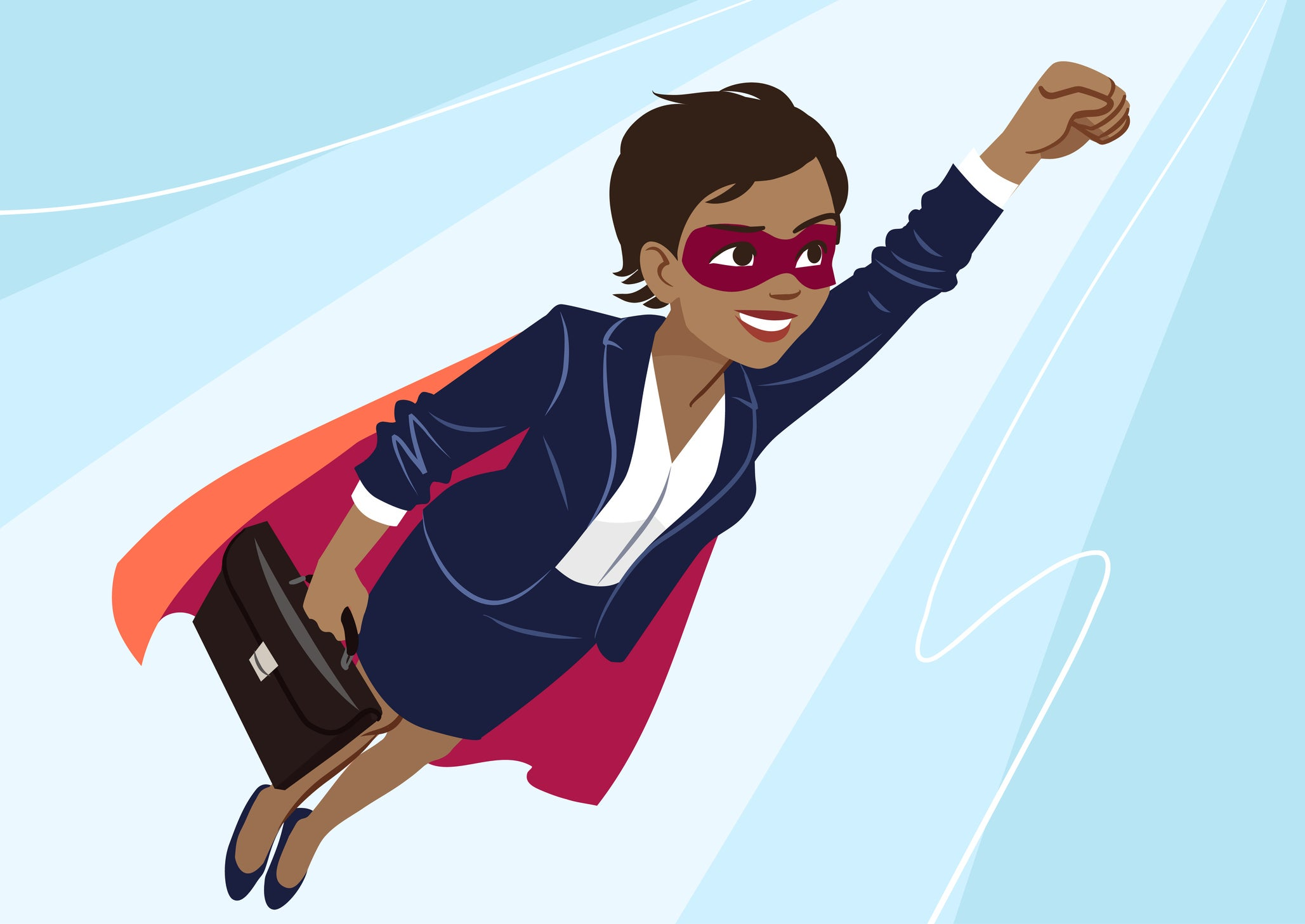 Illustration of a woman in a business suit and cape, who is also holding a briefcase, flying through the air.