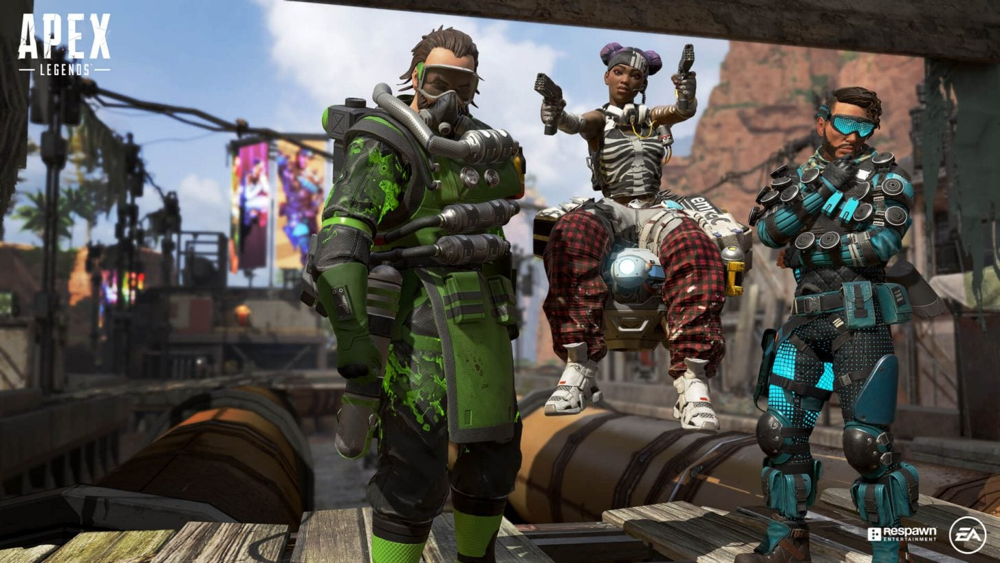 Three video game characters from EA's Apex Legends dressed in futuristic clothing.