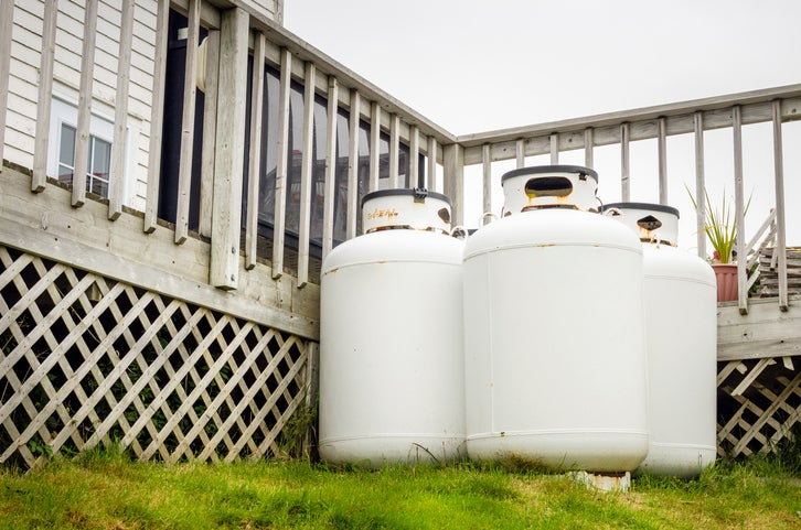 Propane storage tanks outside a home.