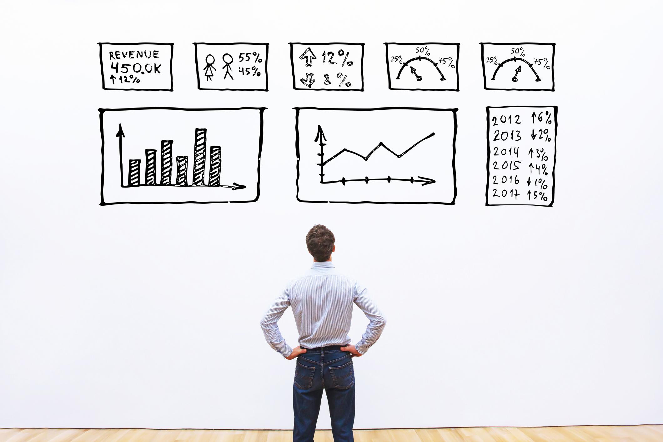 Man looks up at various charts and graphs.