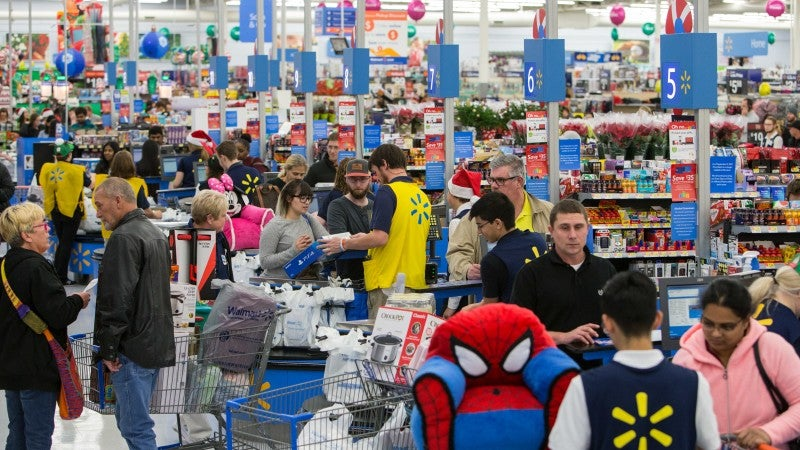 A crowded Walmart store