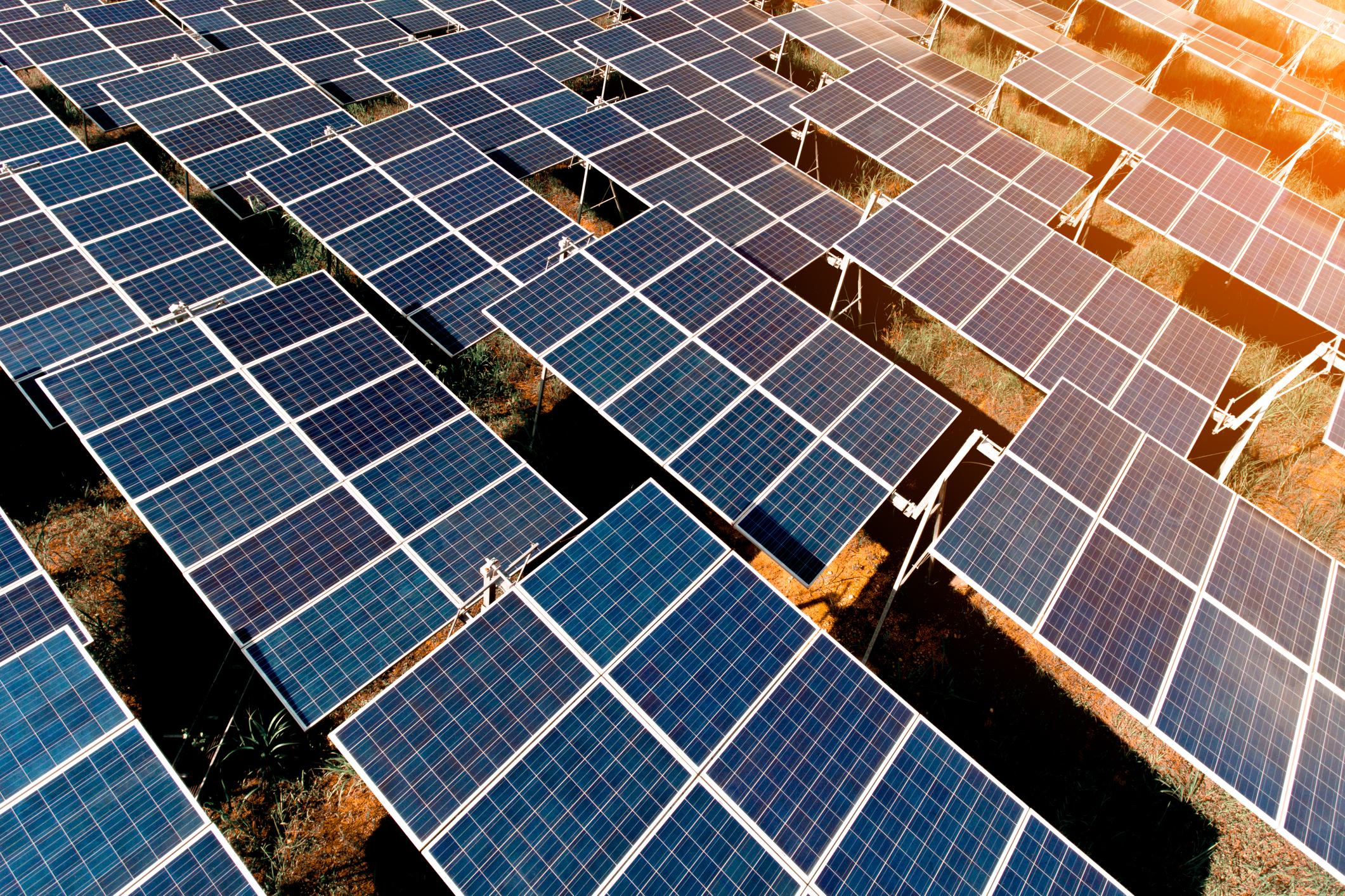 A large solar farm with the sun shining down.
