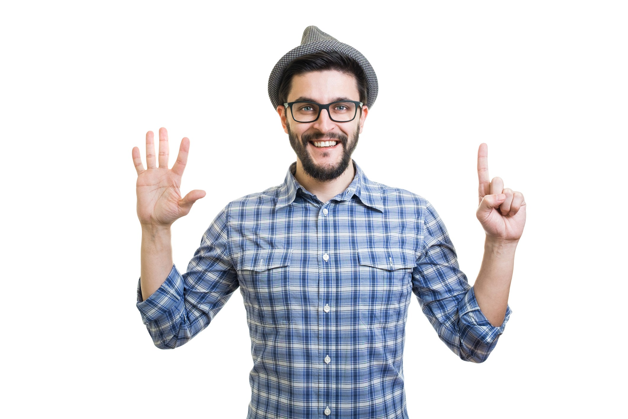 A man holding up six fingers