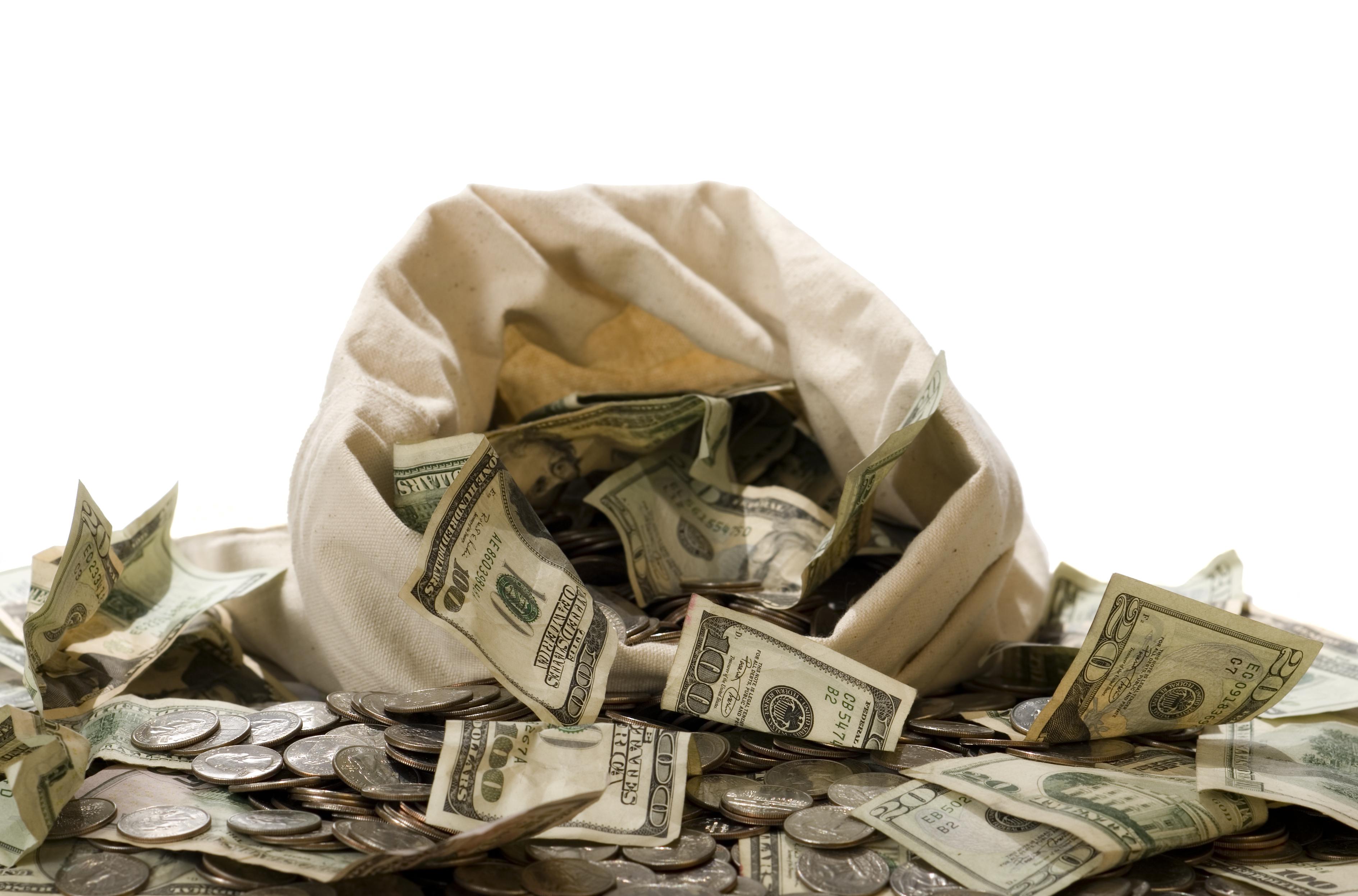 $100 bills spilling out of a money sack.