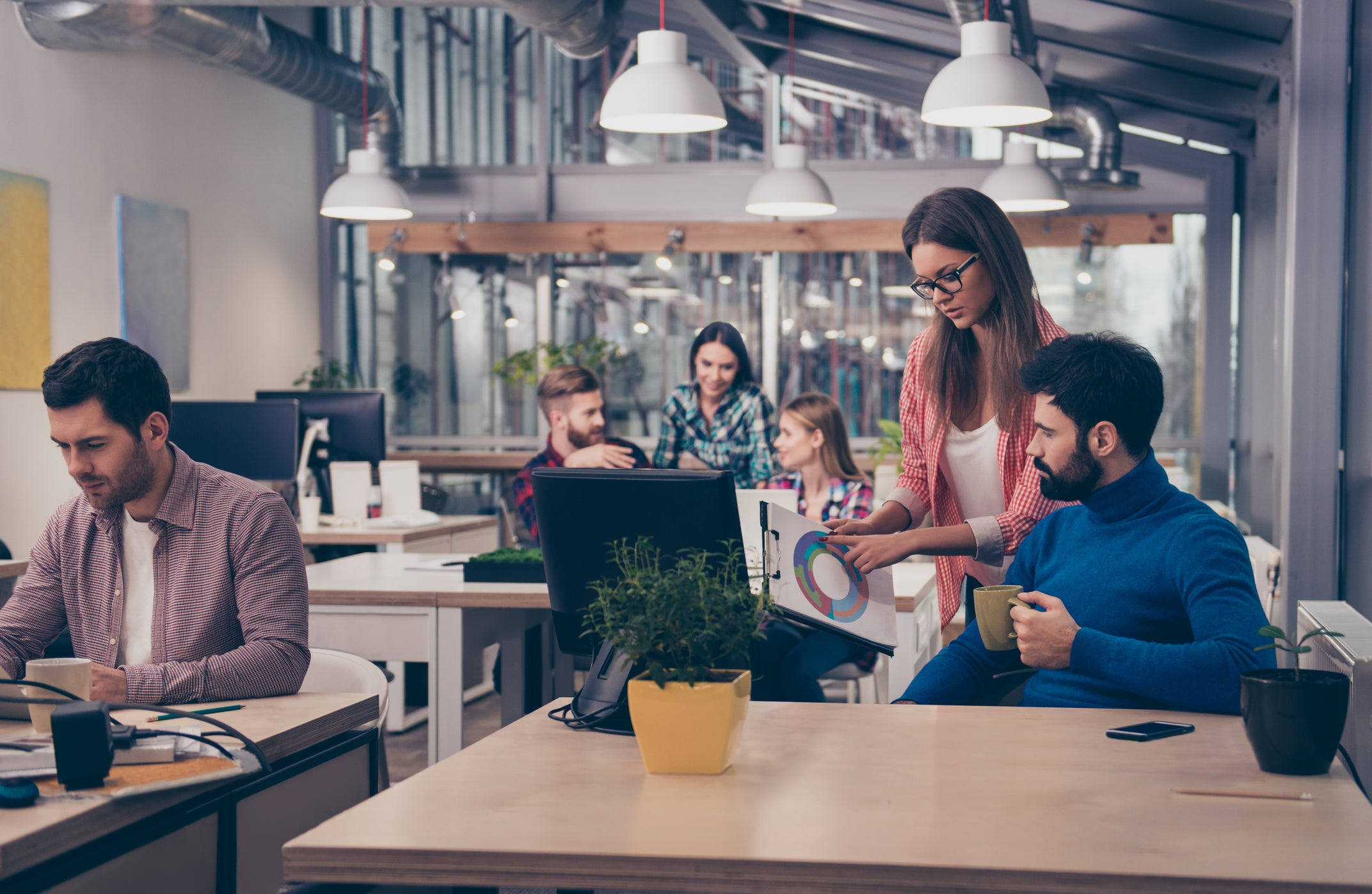 People work in a share office.