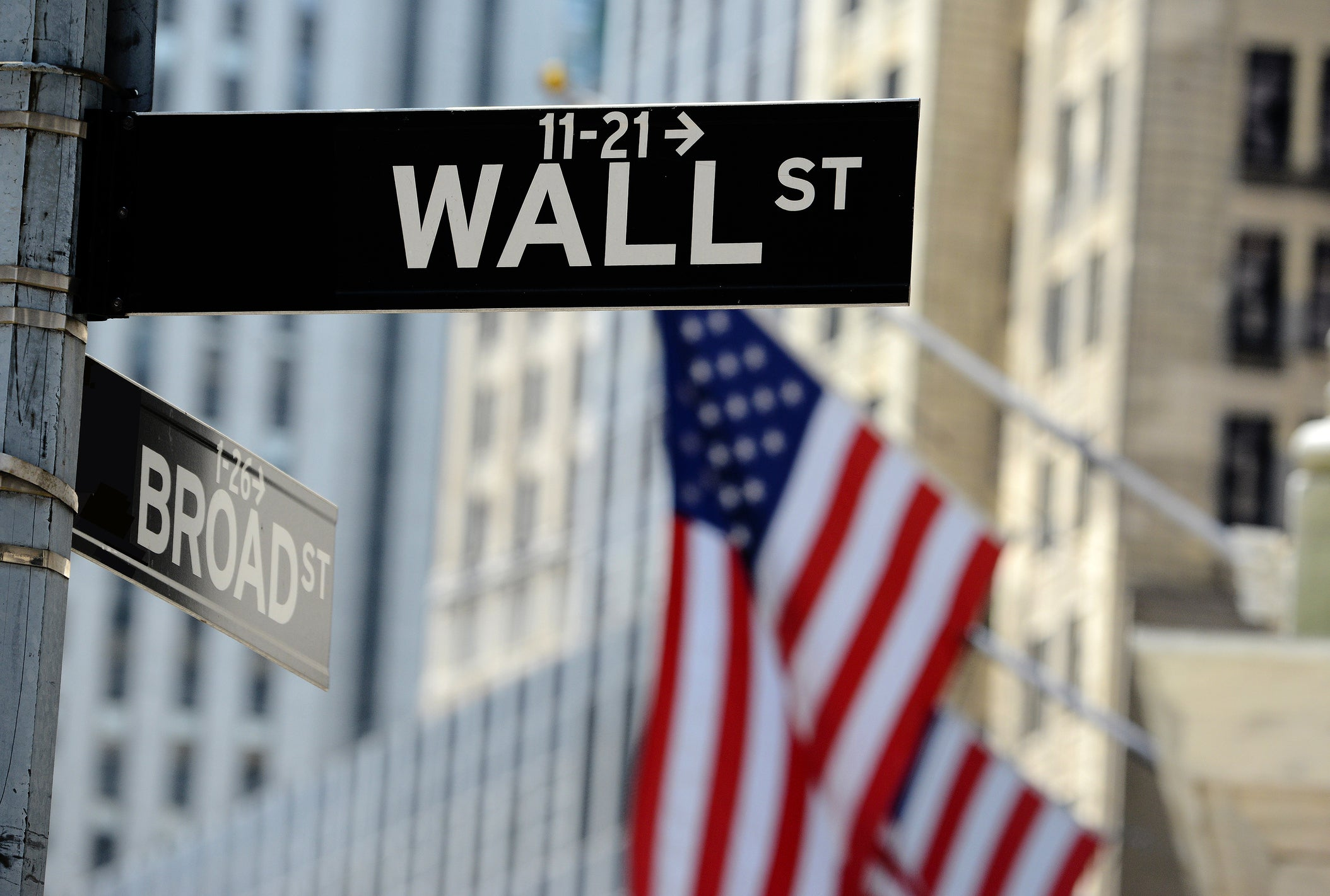 Wall Street street sign with American flags in the background