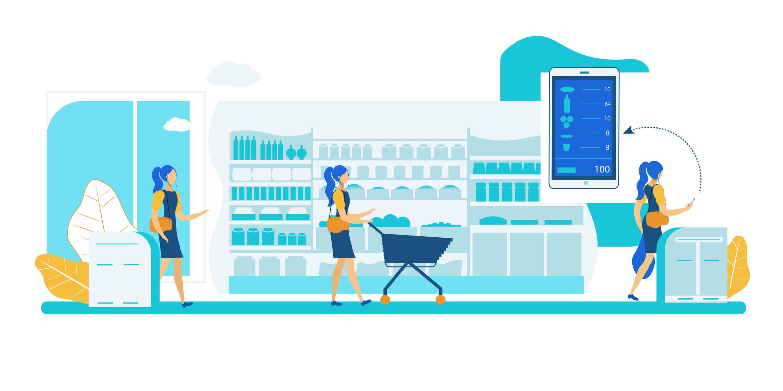 A cashierless shopping system.