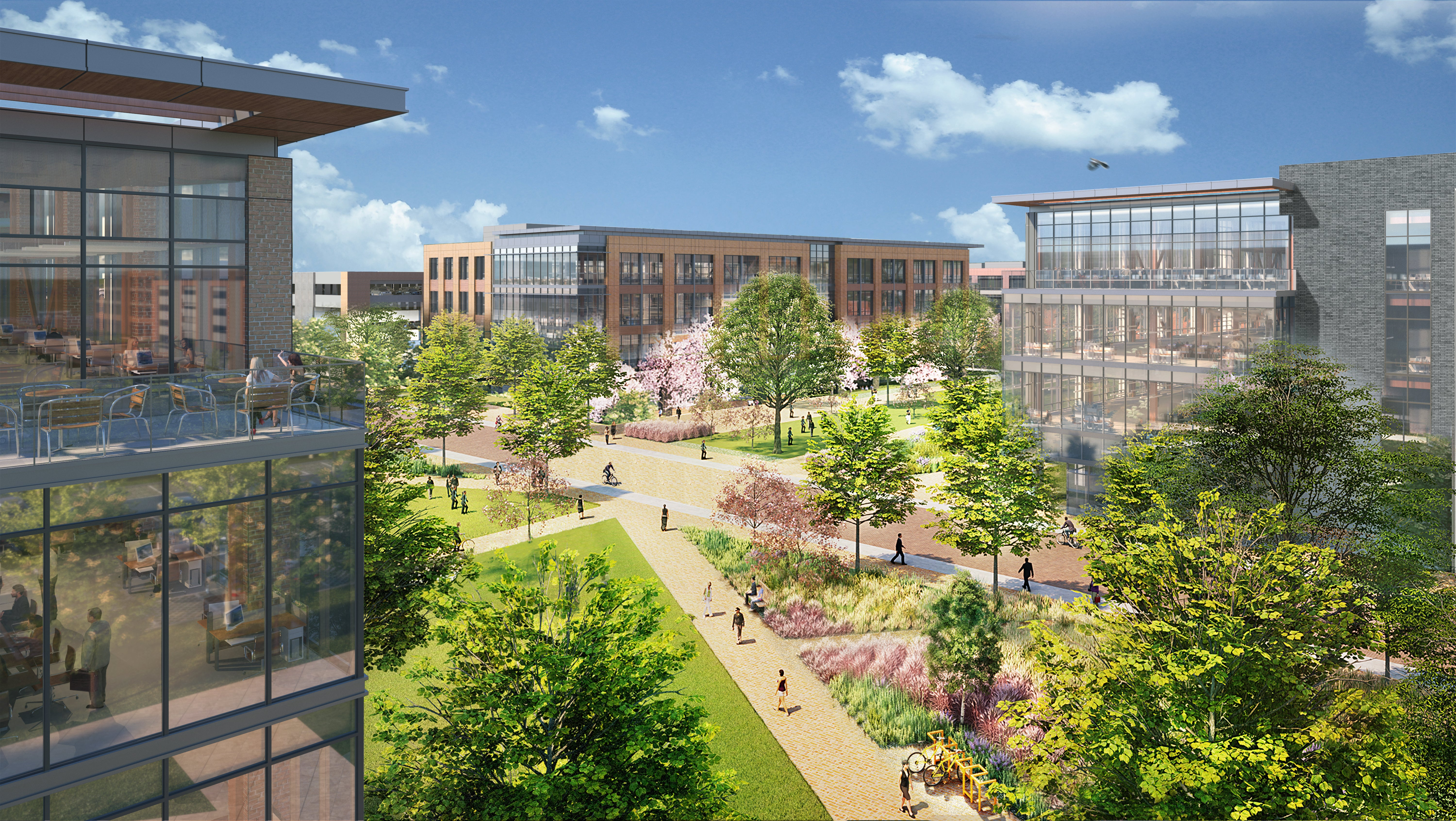 A bird's-eye view of a rendering of the new campus