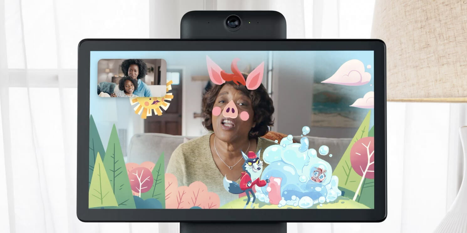 A woman conducts a video chat with cartoon filters on a Portal smart screen.