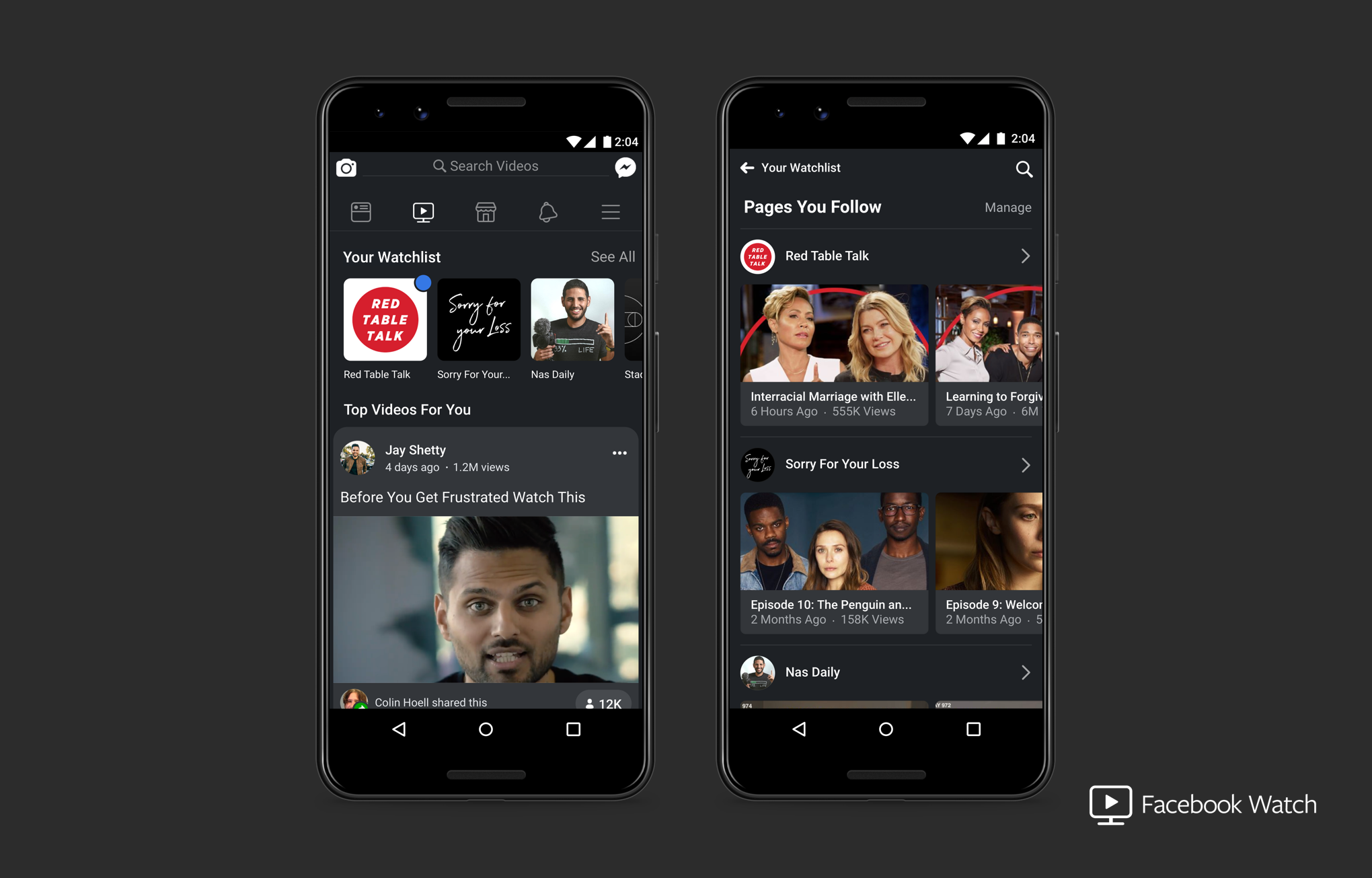 Facebook Watch displayed on two on mobile devices
