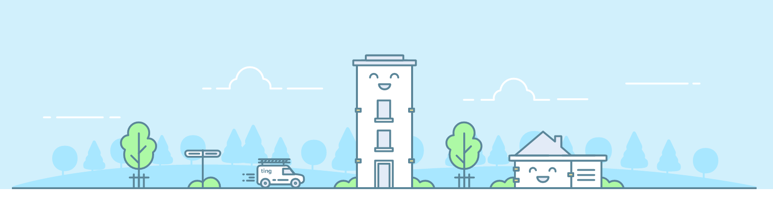 A banner graphic for Ting Internet, featuring a handful of smiling buildings against a light blue backdrop