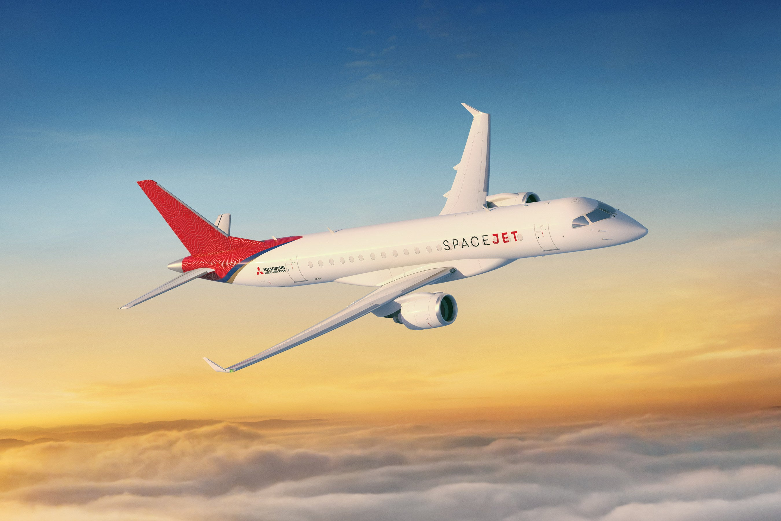 A rendering of a Mitsubishi SpaceJet flying over clouds
