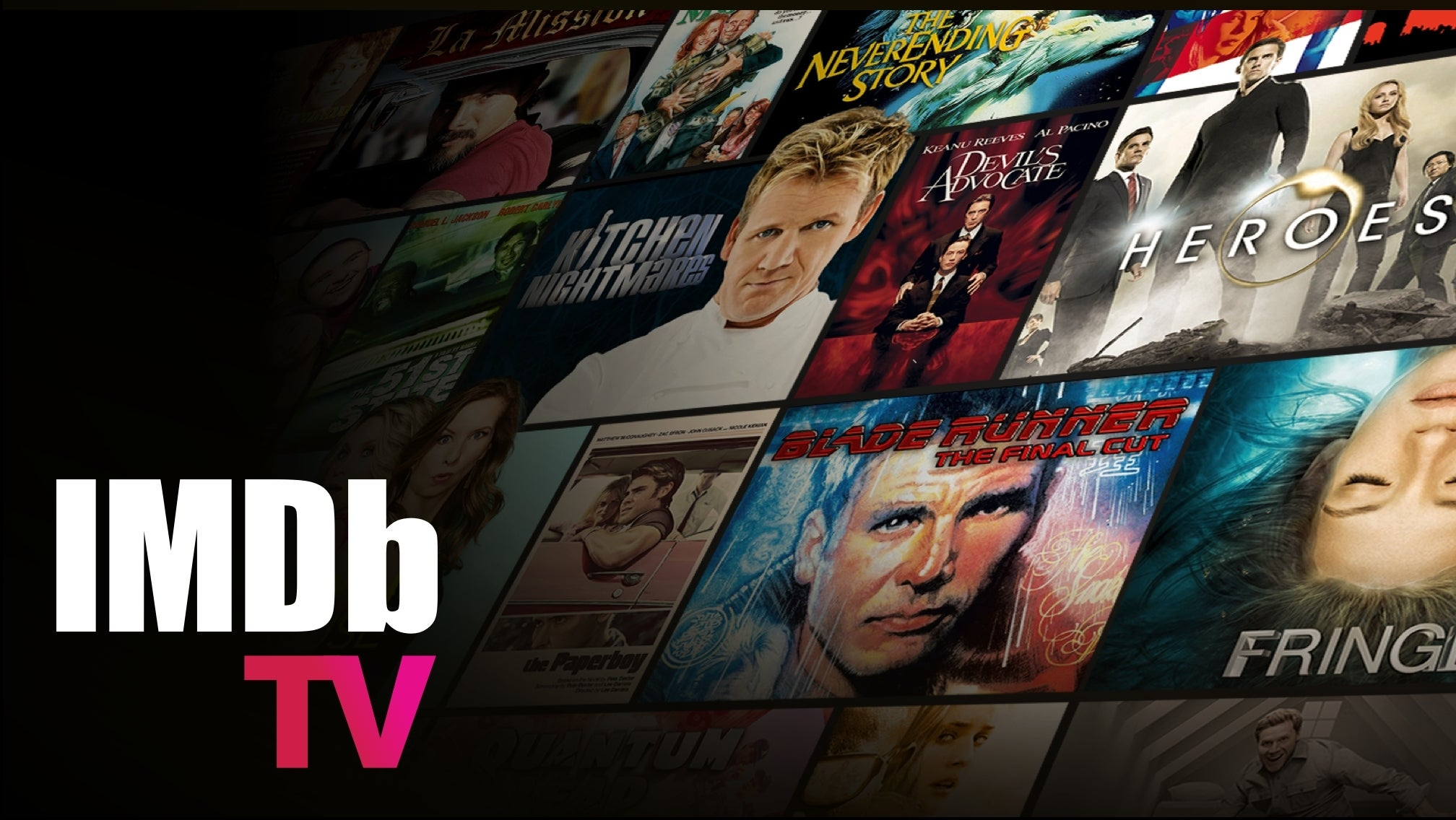 Artwork from various movies and television series with the IMDb TV logo overlaid.