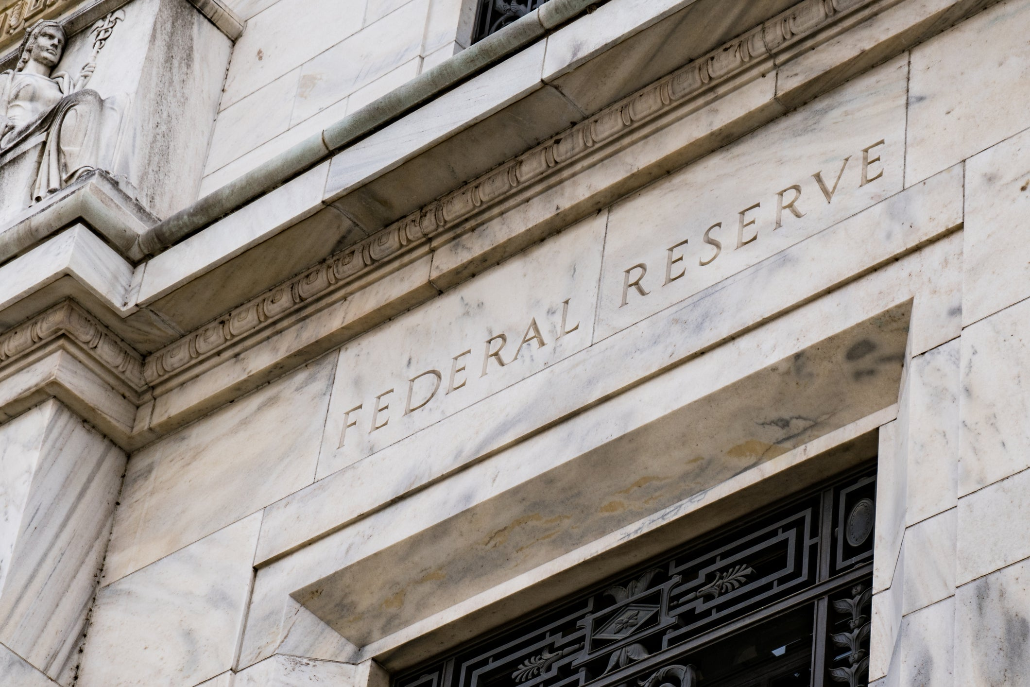 Exterior of Federal Reserve building entrance.