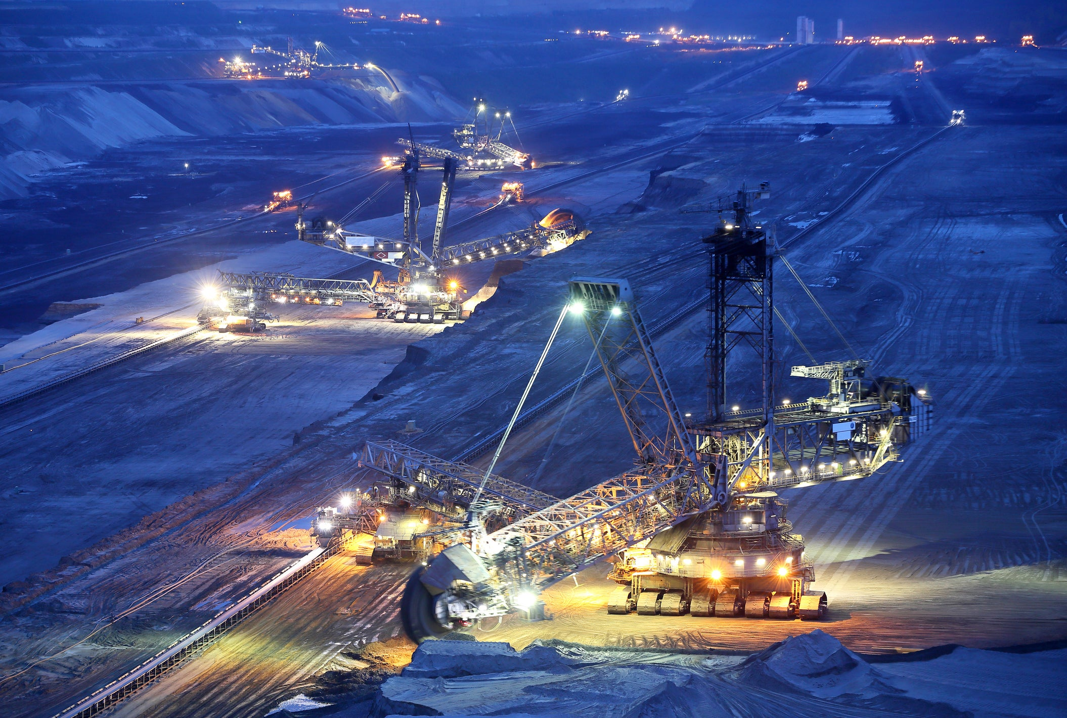 A mining site at night.