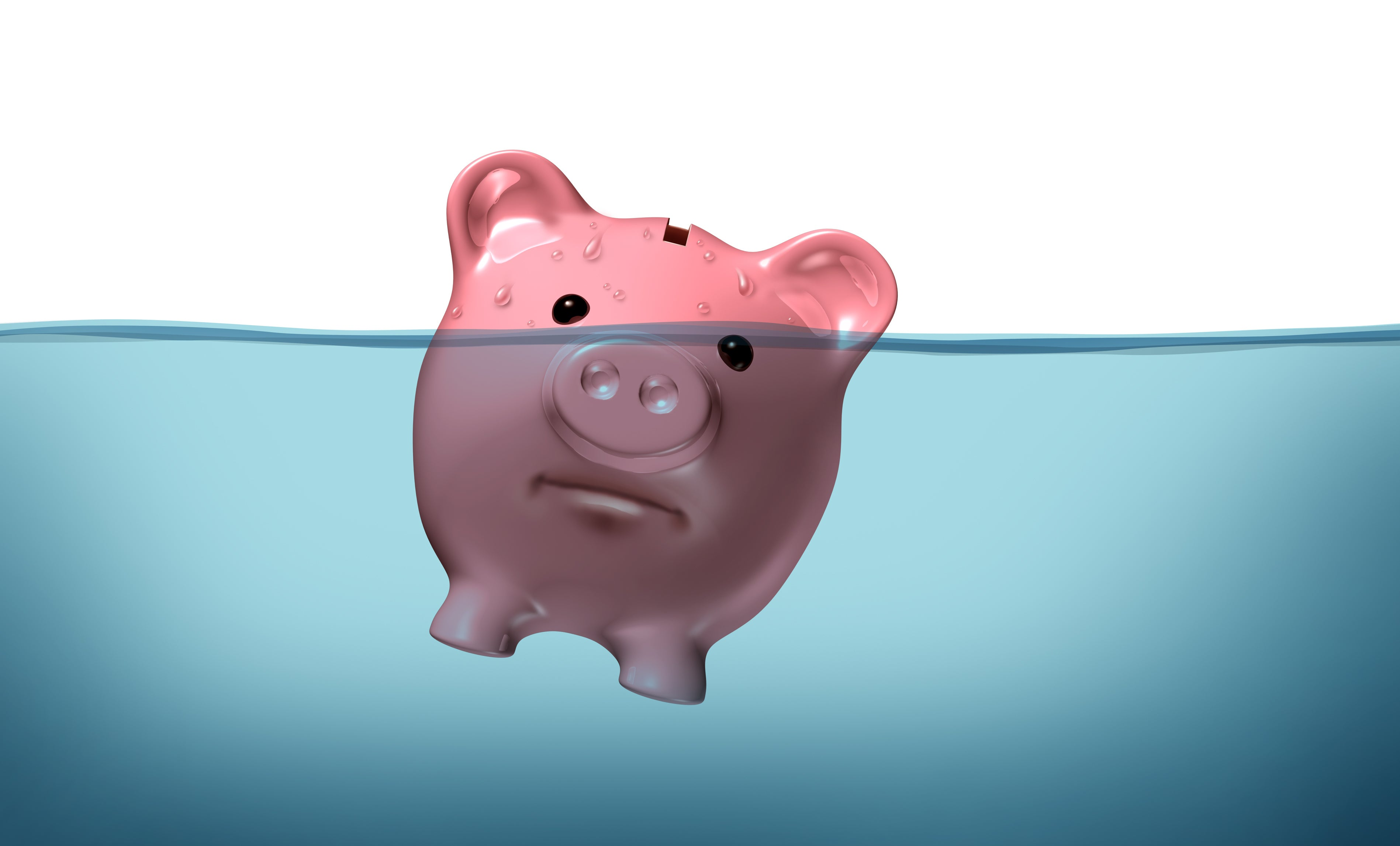 A piggy bank is shown, half submerged in water and with an unhappy expression.