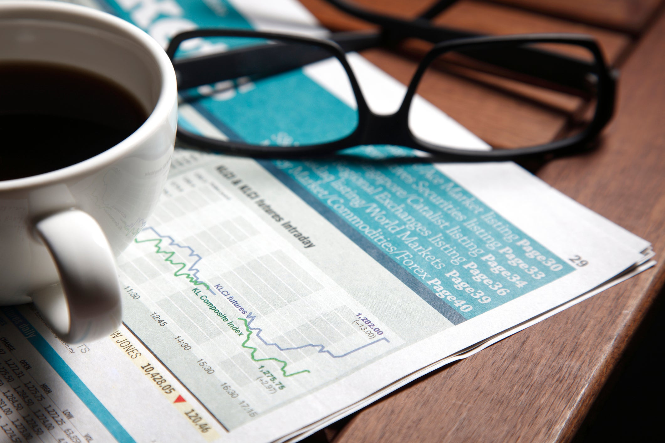 A coffee mug and glasses sit on top of a financial newspaper.
