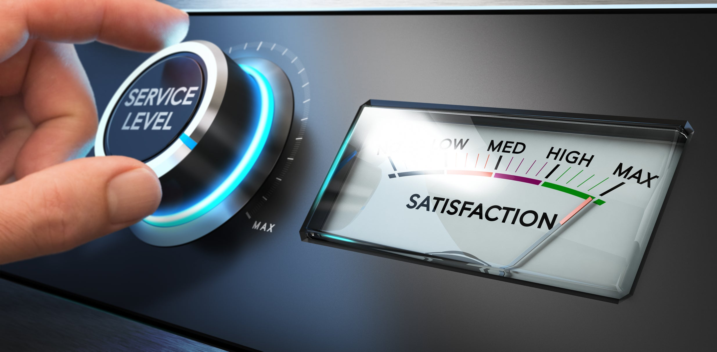 A knob with the words service level turned up to the maximum level, next to a dial with the word satisfaction.