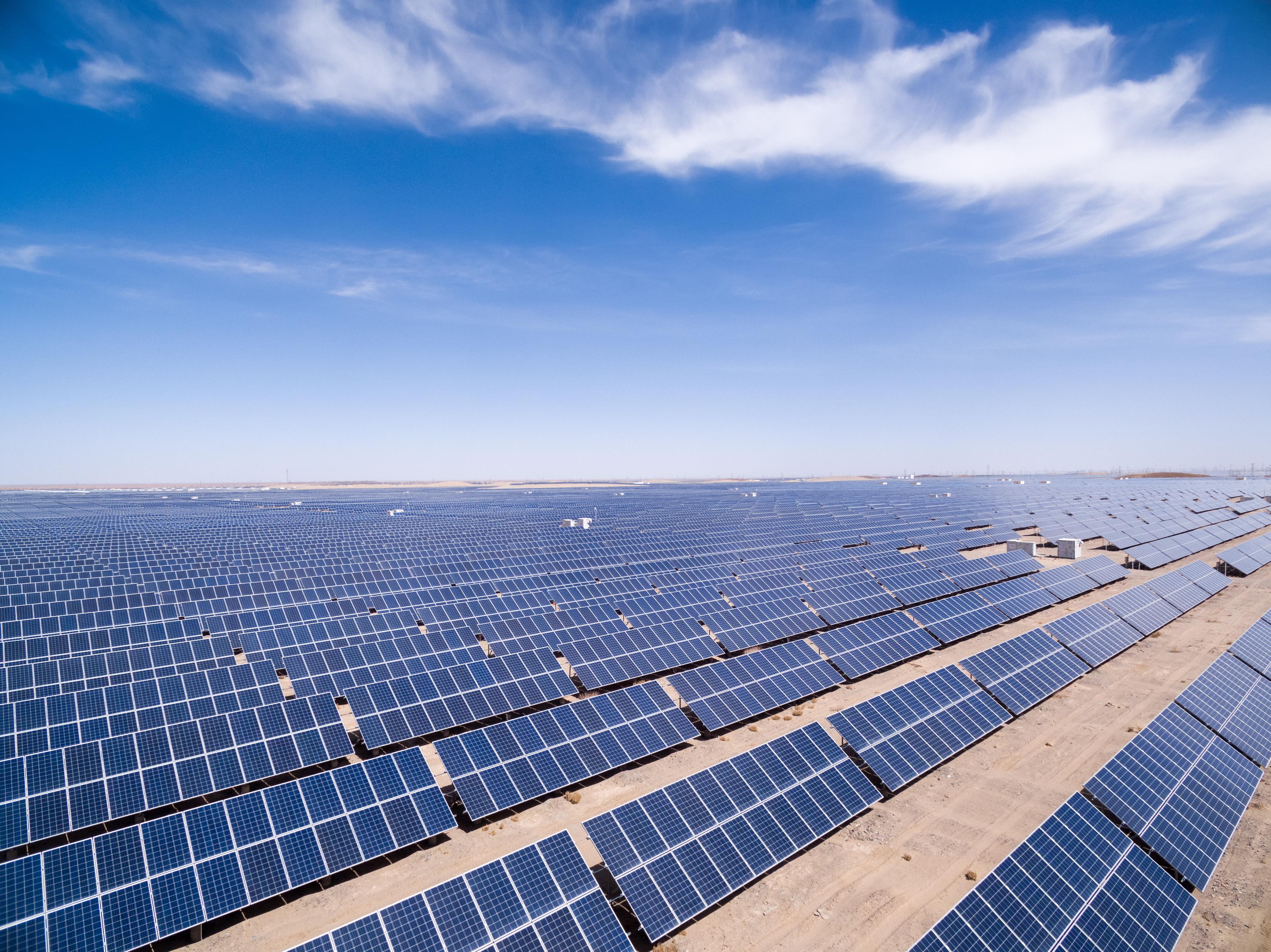 Large solar installation in the desert.