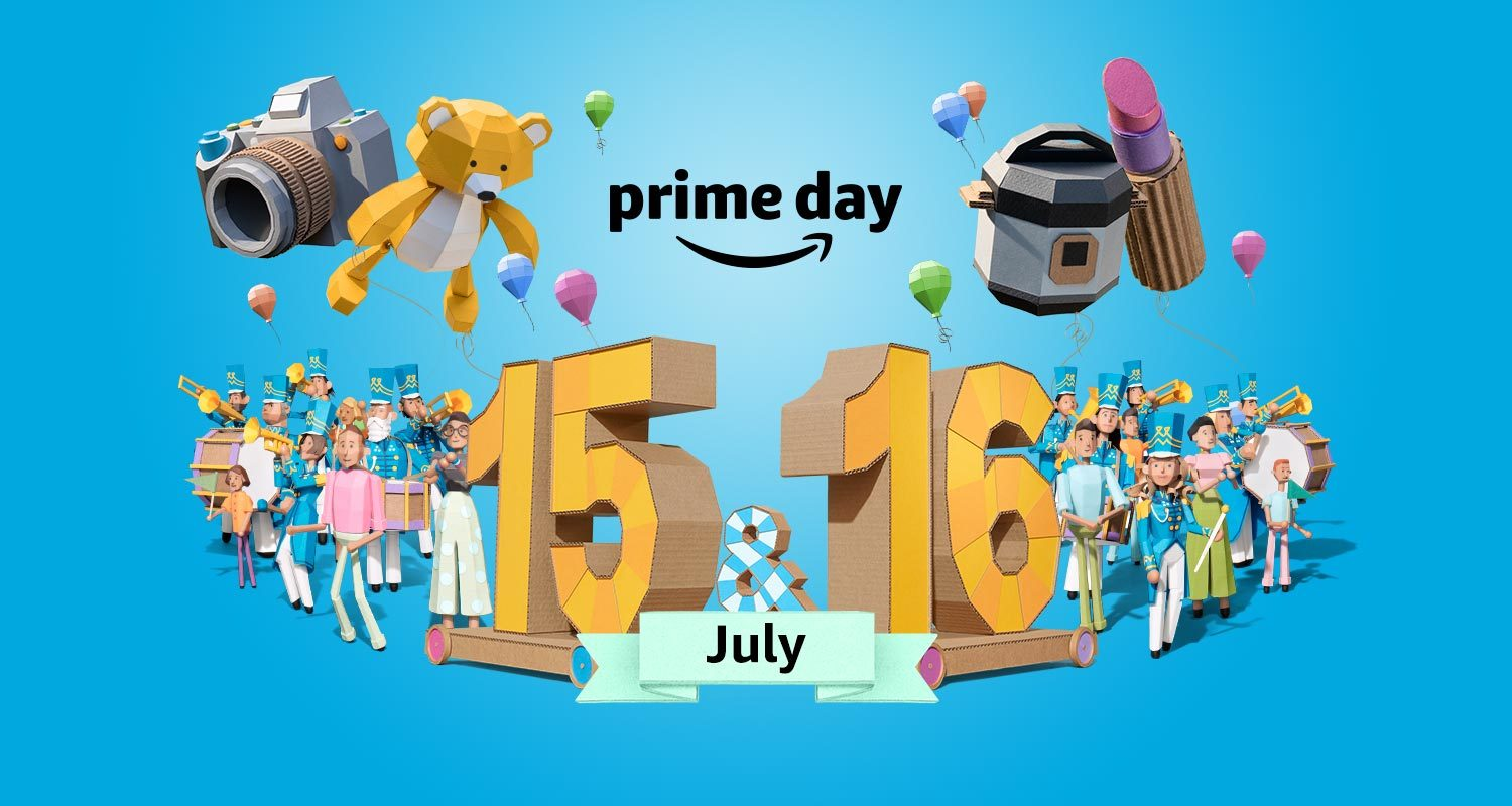The Amazon Prime Day logo, surrounded by products and celebratory balloons, etc.