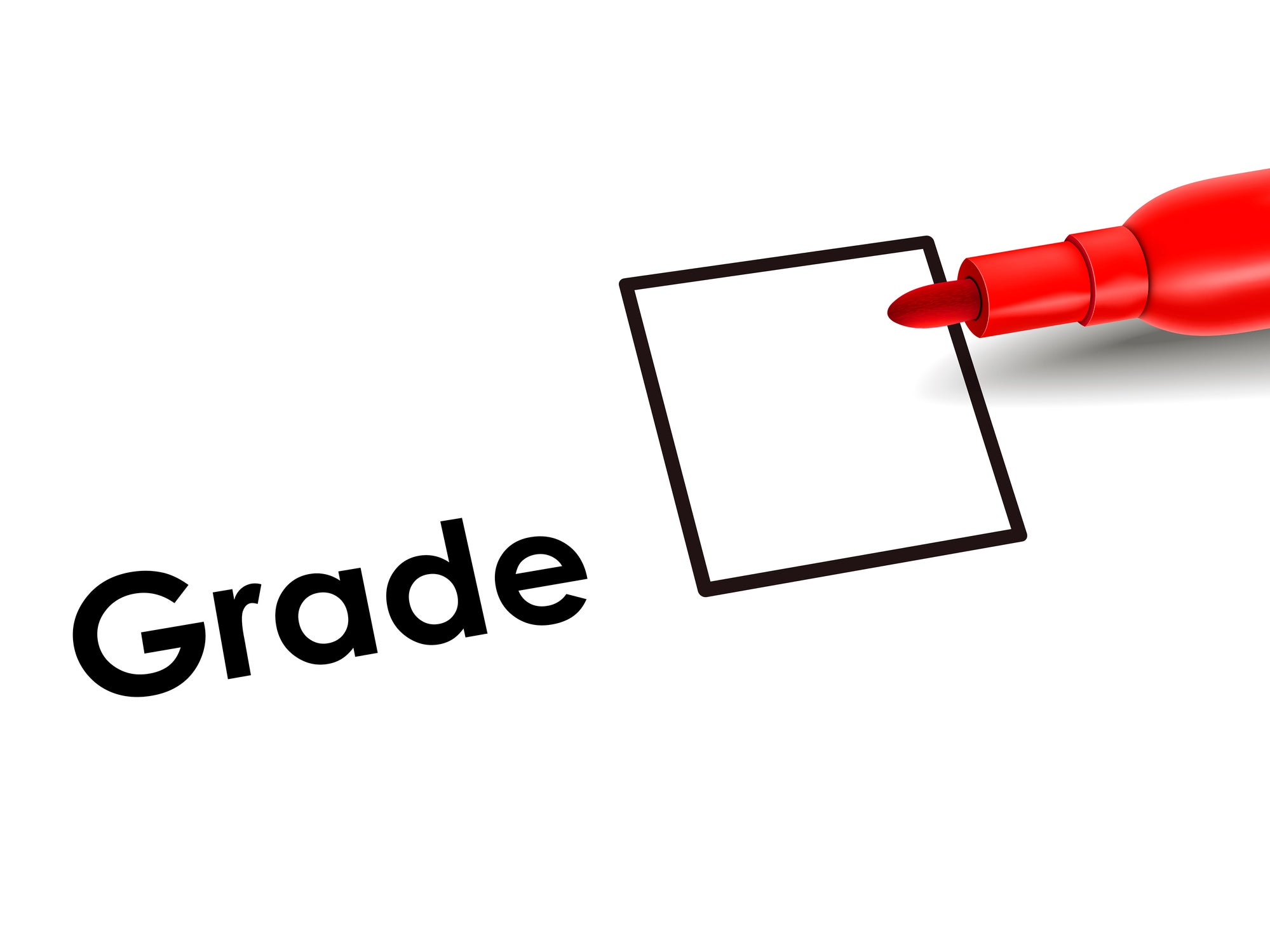 Grade checkbox with red marker