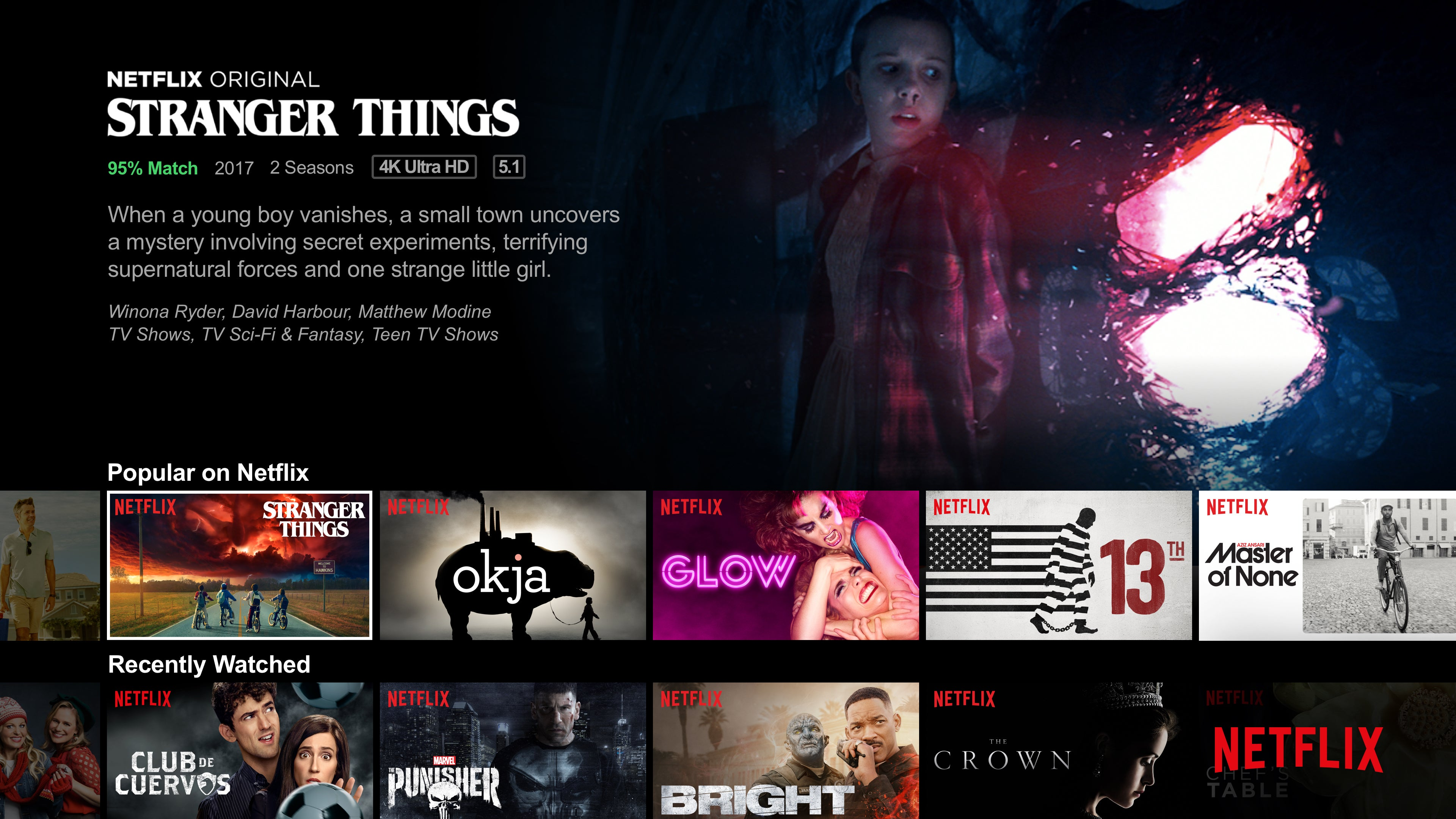 A Netflix content screen for Stranger Things