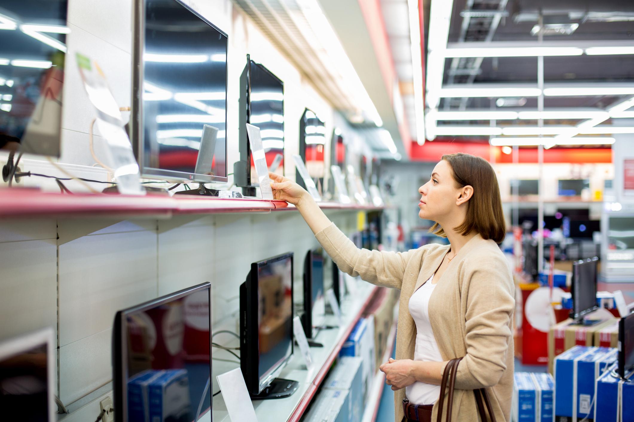 shopping television sets.