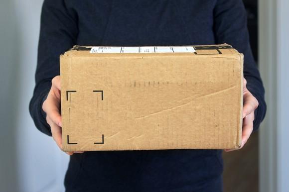 Parcel being delivered.