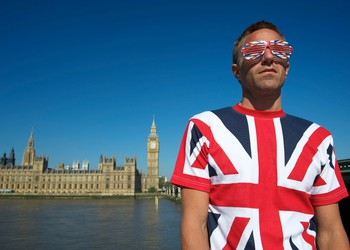 Man Wearing British Flag Shirt Parliament Brexit Getty