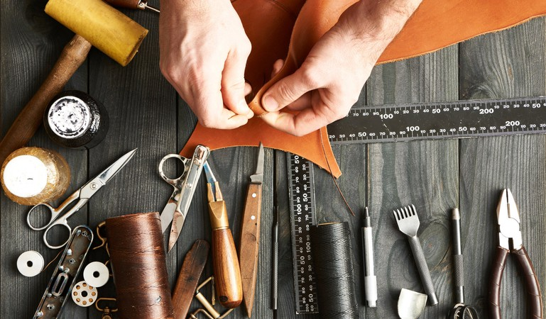 Craftsman Working on Leather