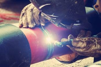 Welder on a construction site