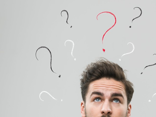 thinking man wondering what to do question confused
