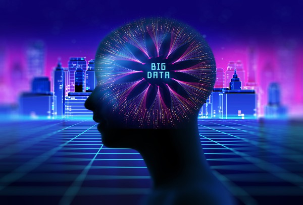 Silhouette of virtual human on retro skyscraper city with words Big Data