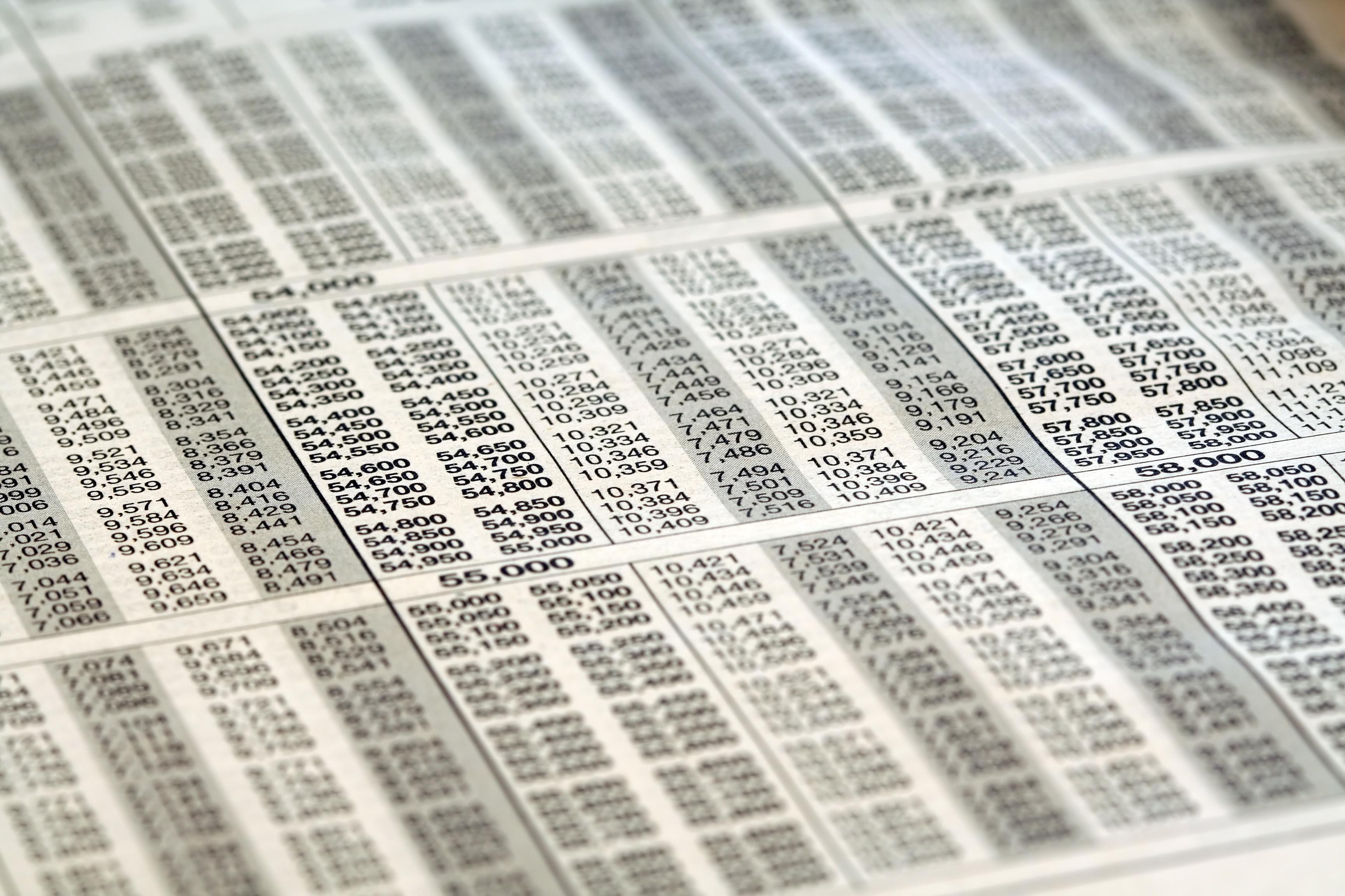 Tax bracket tables