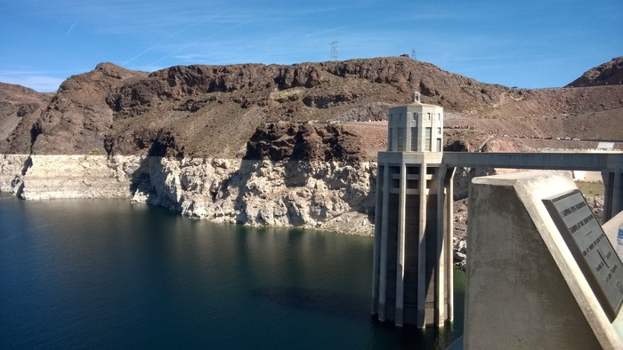Hoover Dam, with the water line showing how far water levels have fallen.
