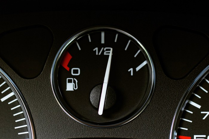 Fuel gauge with a little over half a tank.